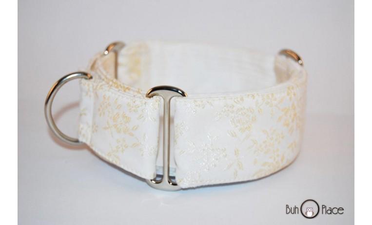 Collar Martingale blanco con flores doradas